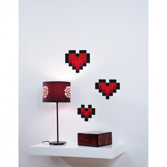 Stickers muraux coeur pixels love