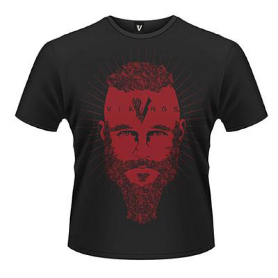 T-shirt Viking Noir Ragnar Red Face et Logo