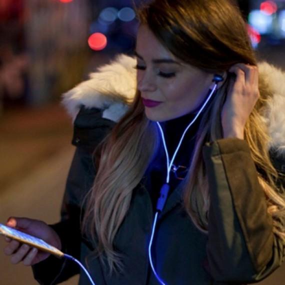 Ecouteurs stéreo luminescente bleue