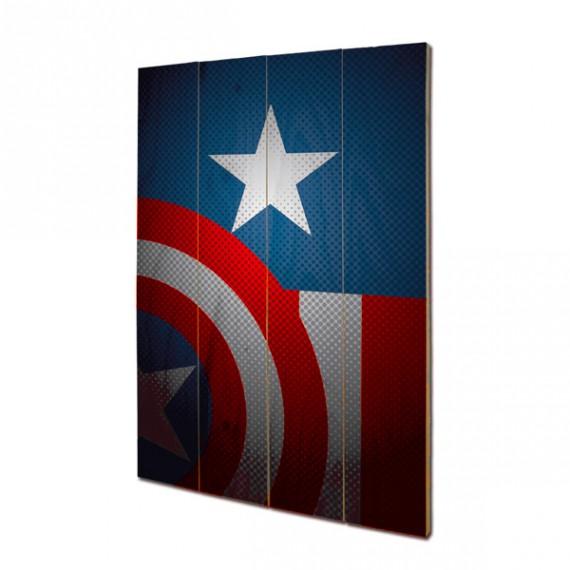 Panneau mural en bois Captain America Marvel