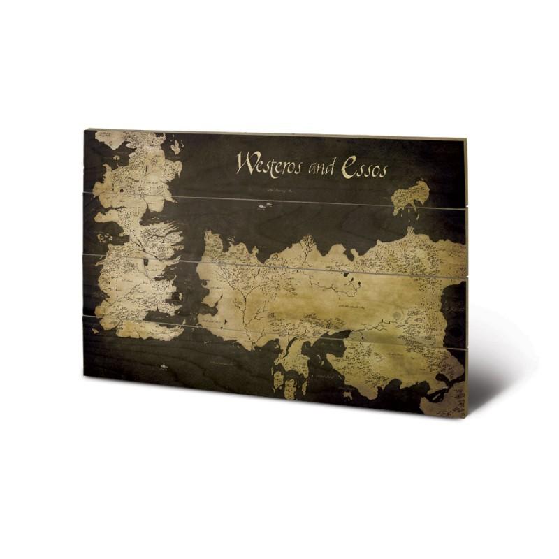 panneau en bois carte de westeros essos game of thrones. Black Bedroom Furniture Sets. Home Design Ideas