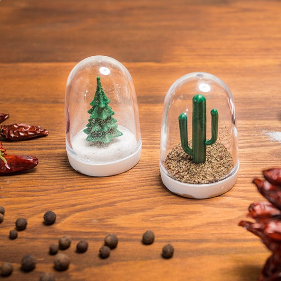 Salière sapin et poivrière cactus hiver été