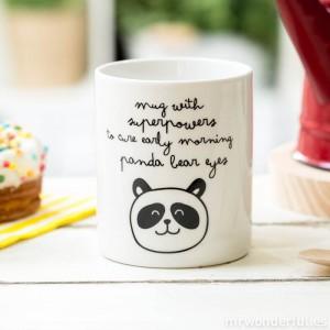 """Mug Panda """"super pouvoirs contre les cernes"""""""