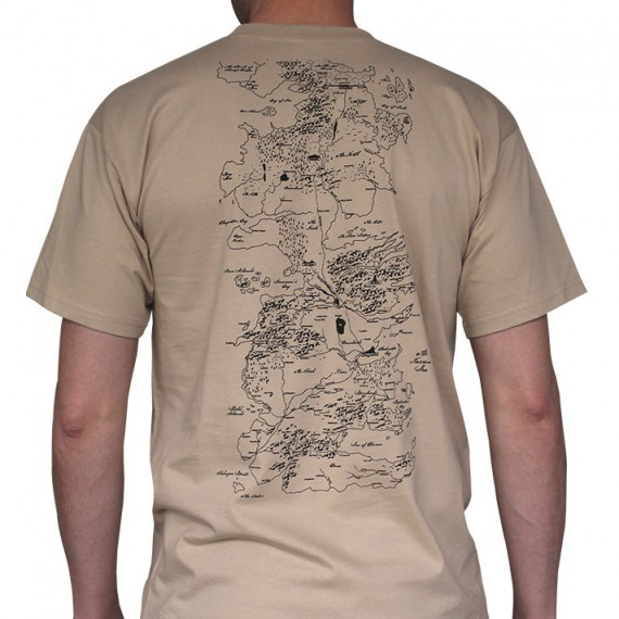T-Shirt Game of Thrones beige Carte de Westeros