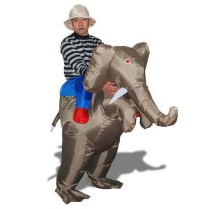 Costume explorateur sur dos d'éléphant