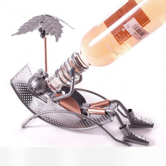 Porte-bouteille Palmier chaise longue en métal forgeron