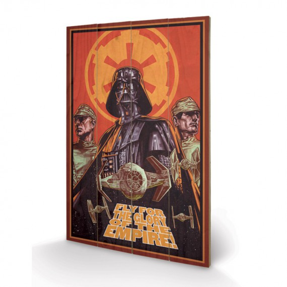 Panneau en bois fly for the glory of the empire star wars for Decoration murale fly
