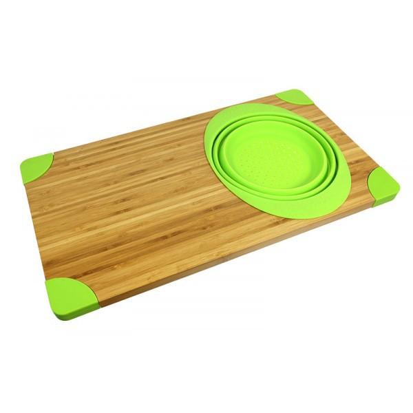 Planche D Couper En Bambou Avec Passoire Silicone