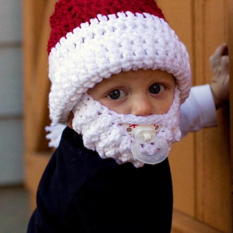 Bonnet rouge et blanc avec barbe de p re no l pour enfant - Boule de noel pour barbe ...