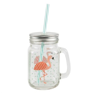 Mug Mason Jar flamand rose