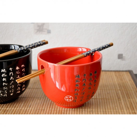 Duo de bols asiatiques rouge et noir et baguettes Sakuna