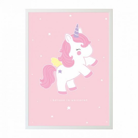 Poster b b licorne rose commentseruiner for Decoration licorne chambre