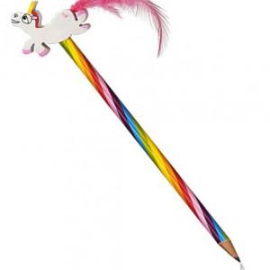 Crayon arc en ciel et gomme licorne