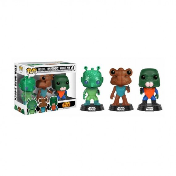 Figurine POP Star Wars - Pack Greedo, Hammerhead & Walrus man Exclusive