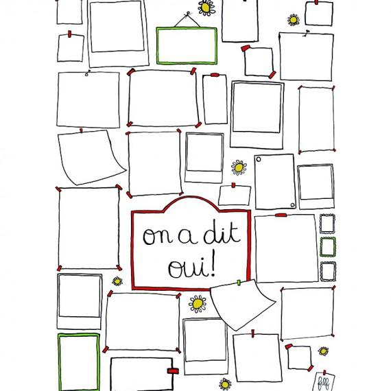 """Livre d'or """"on a dit oui!"""" à remplir - Cadeau de mariage - Format poster"""
