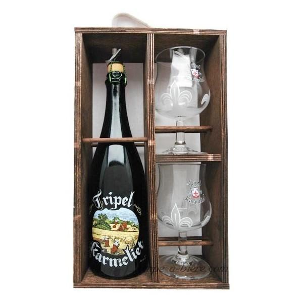 Coffret cadeau karmeliet caisse bois 2 verres - Coffret verre a biere ...