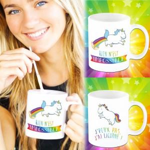 Mug licorne Impossible & j'peux pas j'ai licorne - set de 2 mugs