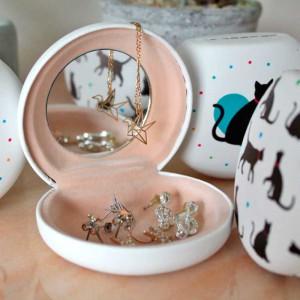 Boîte à bijoux chat avec miroir