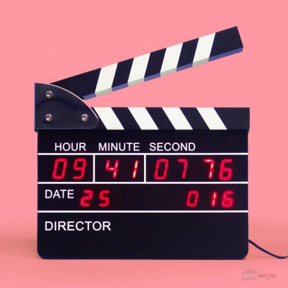 Horloge / Réveil clap de cinéma
