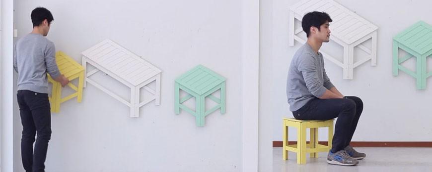 Des meubles pliables qui s 39 accrochent au mur pigsou mag for Meuble qui s accroche au mur