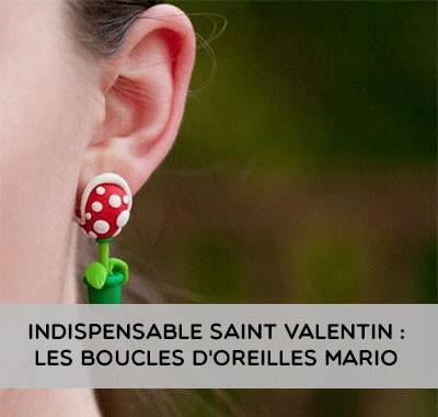 Les boucles d'oreilles Mario pour la saint Valentin